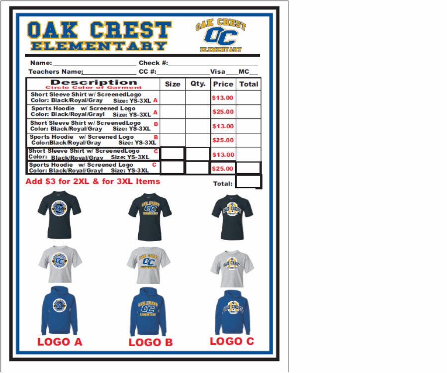 2012   2013 Oak Crest T Shirt Order Form